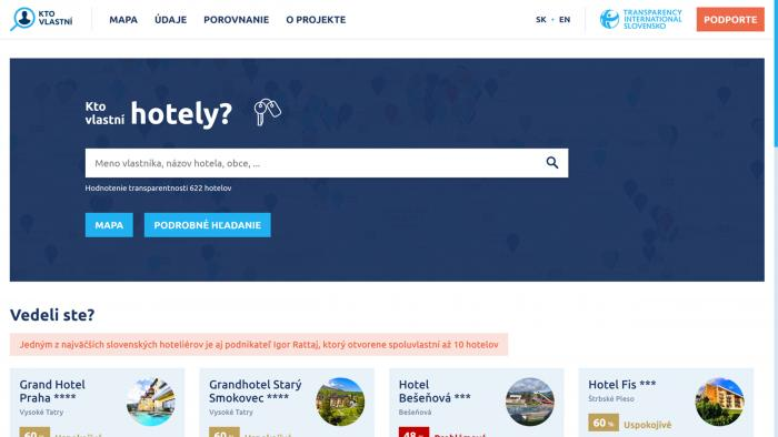 Portál KtoVlastni.sk už v súčasnosti zverejňuje pozadie vyše 600 hotelov.