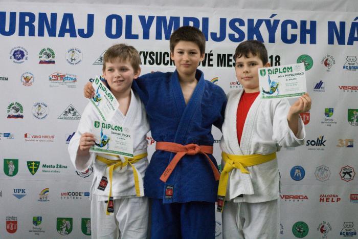 Judo Olympiáda Kysucké Nové Mesto 17.3.2018: vyhodnotenie kategórie mini do 36 kg: na stupňoch víťazov